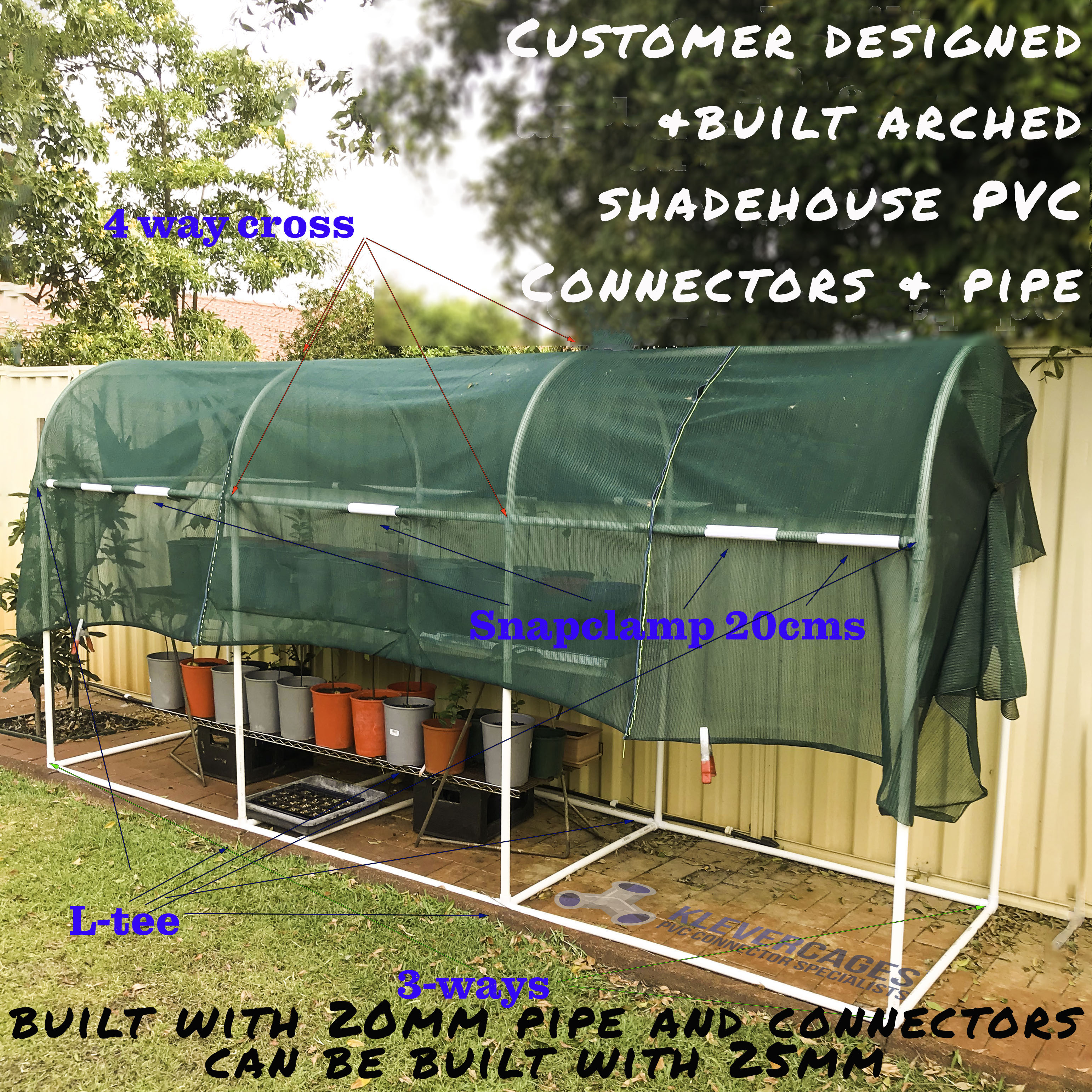 Diy arched greenhouse built with PVC connectors and pipe from Klever Cages. Protecting plants on a shelf from the harsh Australian sun.