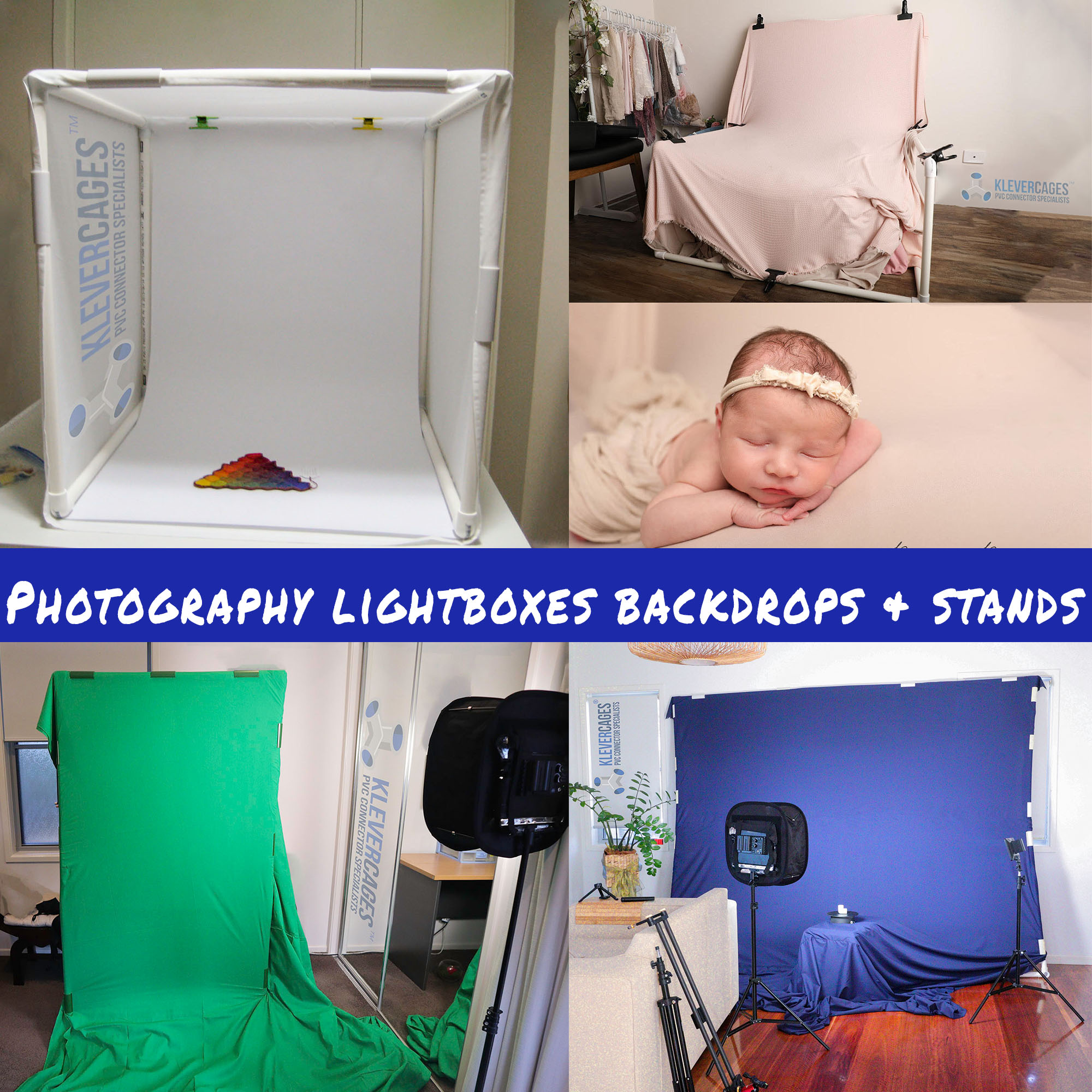 DIY custom design and build photography lightboxes, greenscreens, newborn stands and backdrops built with PVC fittings, connectors from Klever Cages