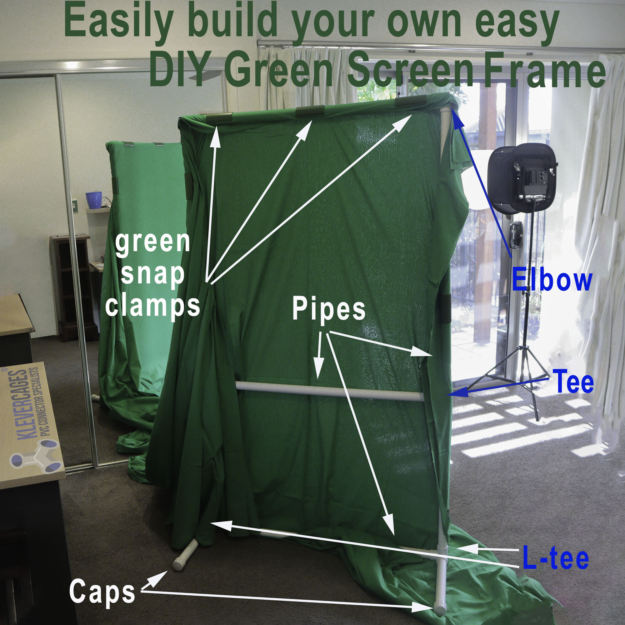 Easily Build your own PVC props  frame greenscreen  photography backdrop frames easily with PVC connectors and pipe from Klever Cages