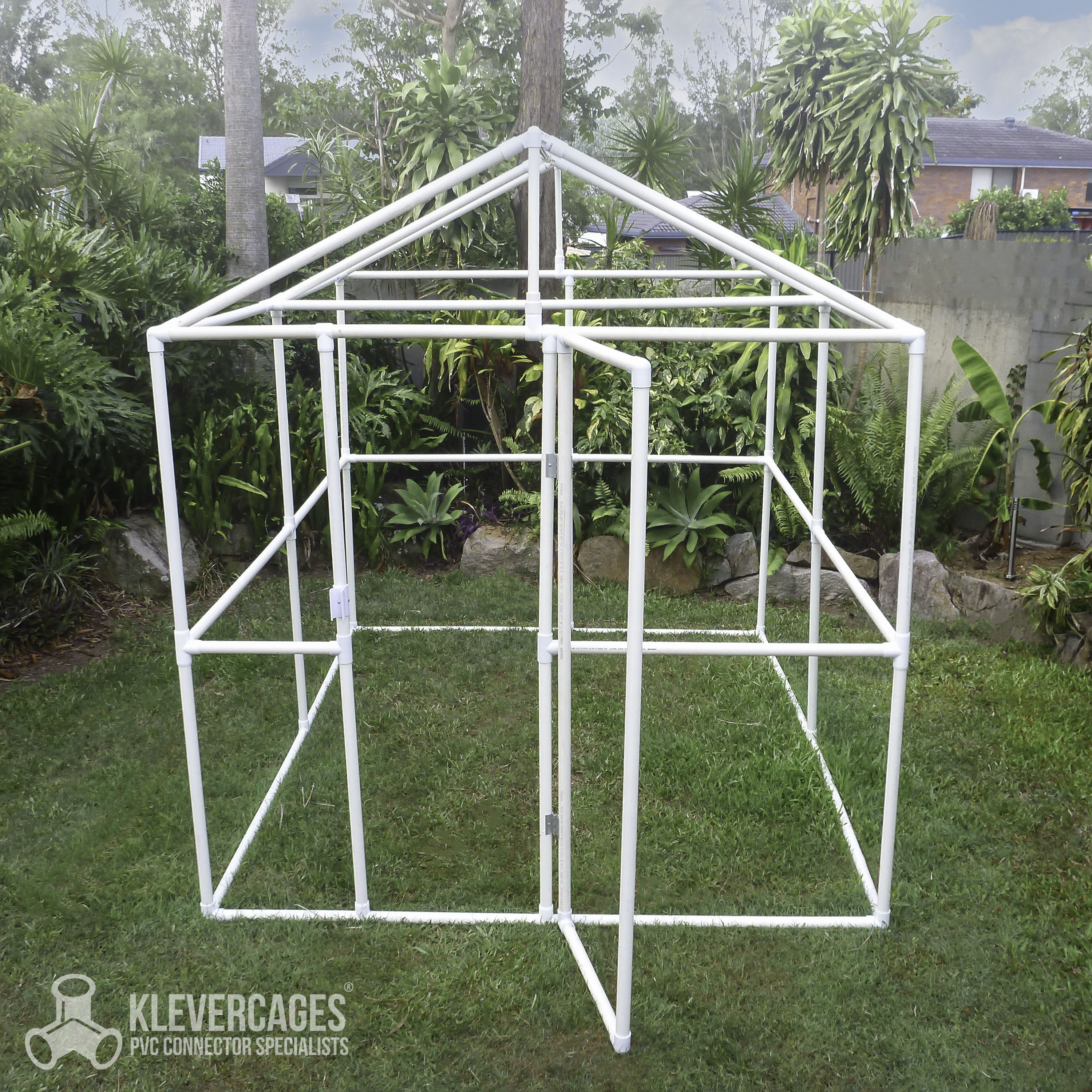 Greenhouse frame built with PVC pipe and connectors from Klever Cages Australia
