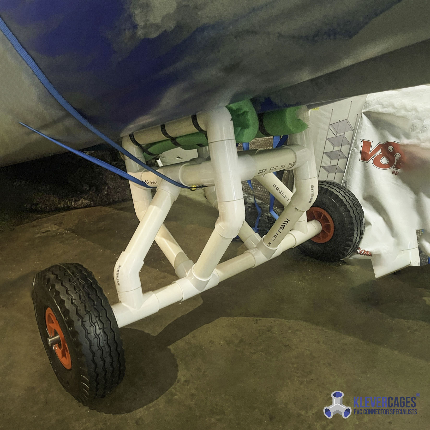 DIY Kayak trolley built with PVC pipe and connectors from Klever Cages