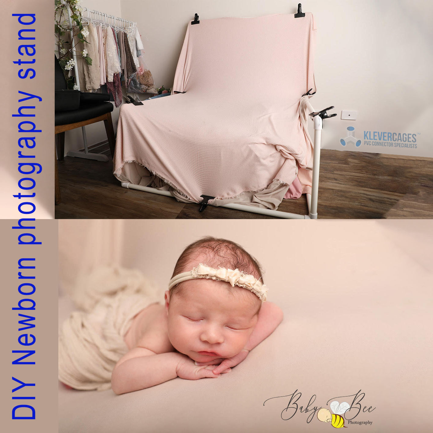 Make your own Newborn photography props including a newborn photgraphy stand built with PVC connectors and pipe with a beanbag and a sheet covering