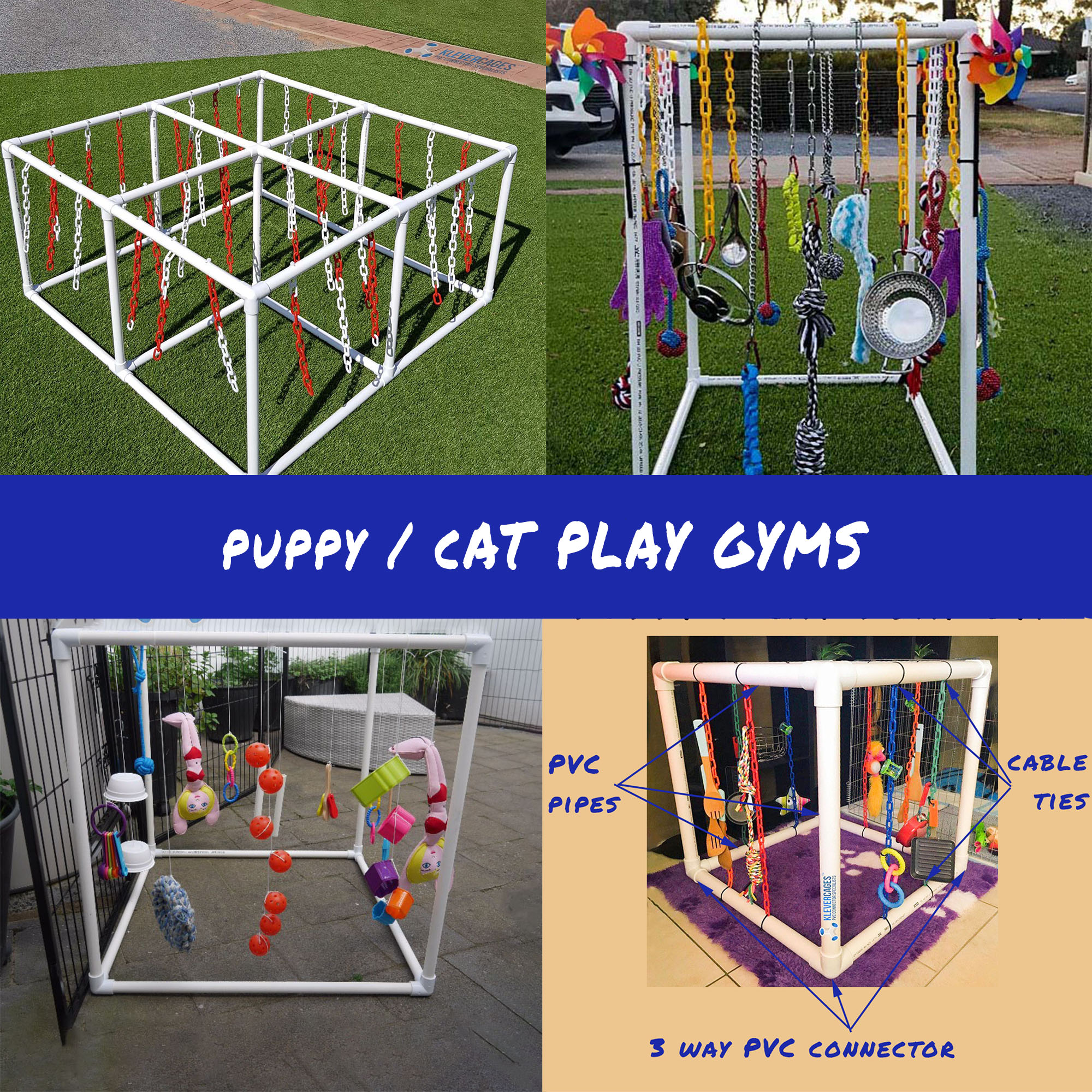 Build your own puppy cat play gym from 3way PVC connectors and PVC pipe from Klever Cages