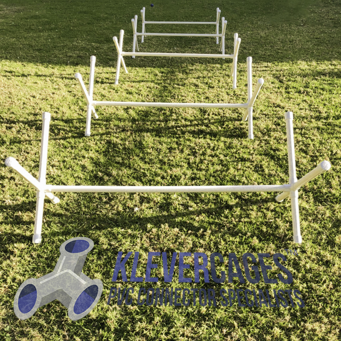 5 Dog agility flip adjustable cavalettis dog hurdles for strength and confidence training. These are made from 20mm PVC pipe, 5 way connectors and caps from Klever Cages