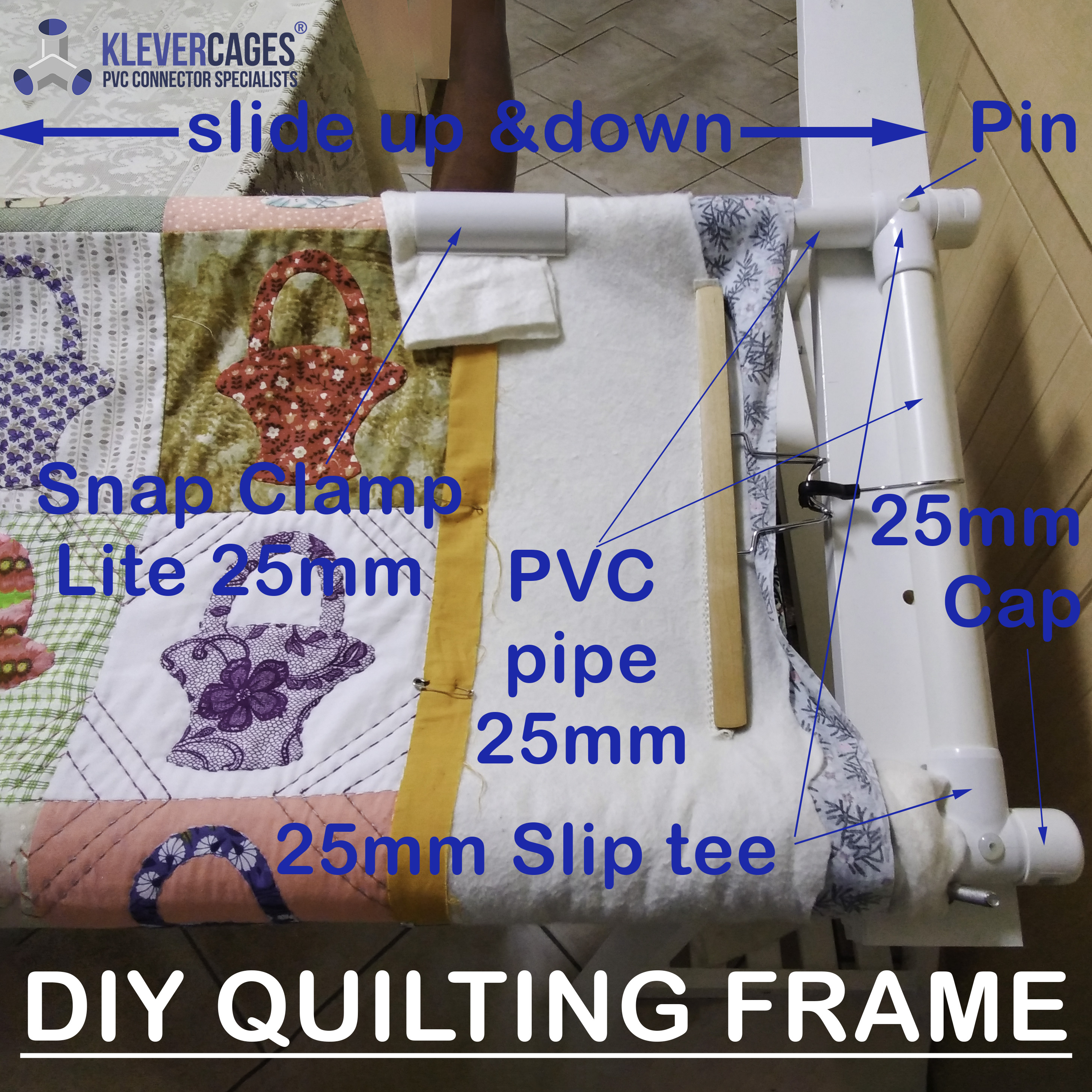 DIY quilting frame using slip tees, caps and PVC pipe from Klever Cages