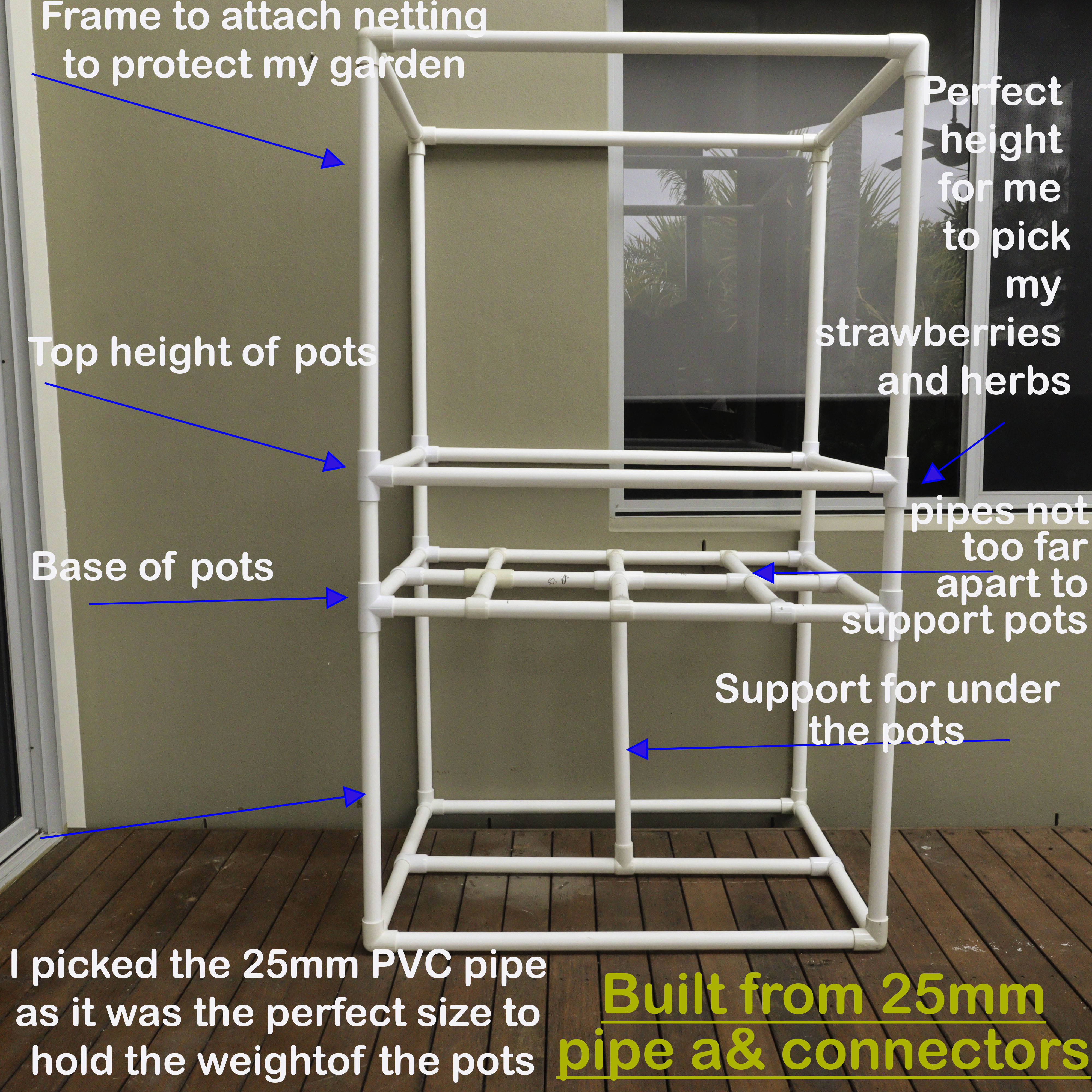 DIY raised garden bed built with PVC pipe and connectors for the frame and covered with bird exclusion netting