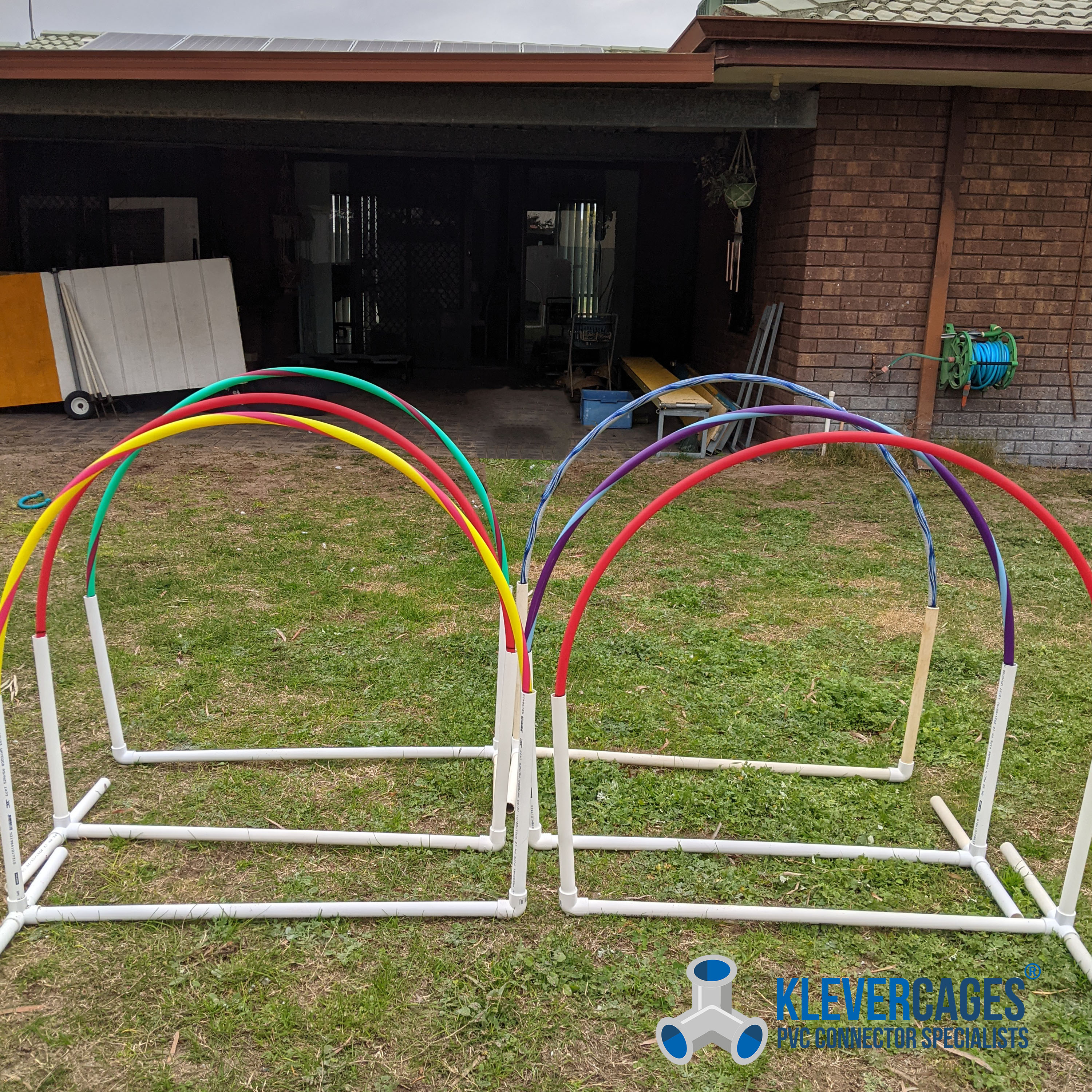 Dog agility training hoops built with OVC pipe 20mm, l tees and elbows from Klever Cages Australia
