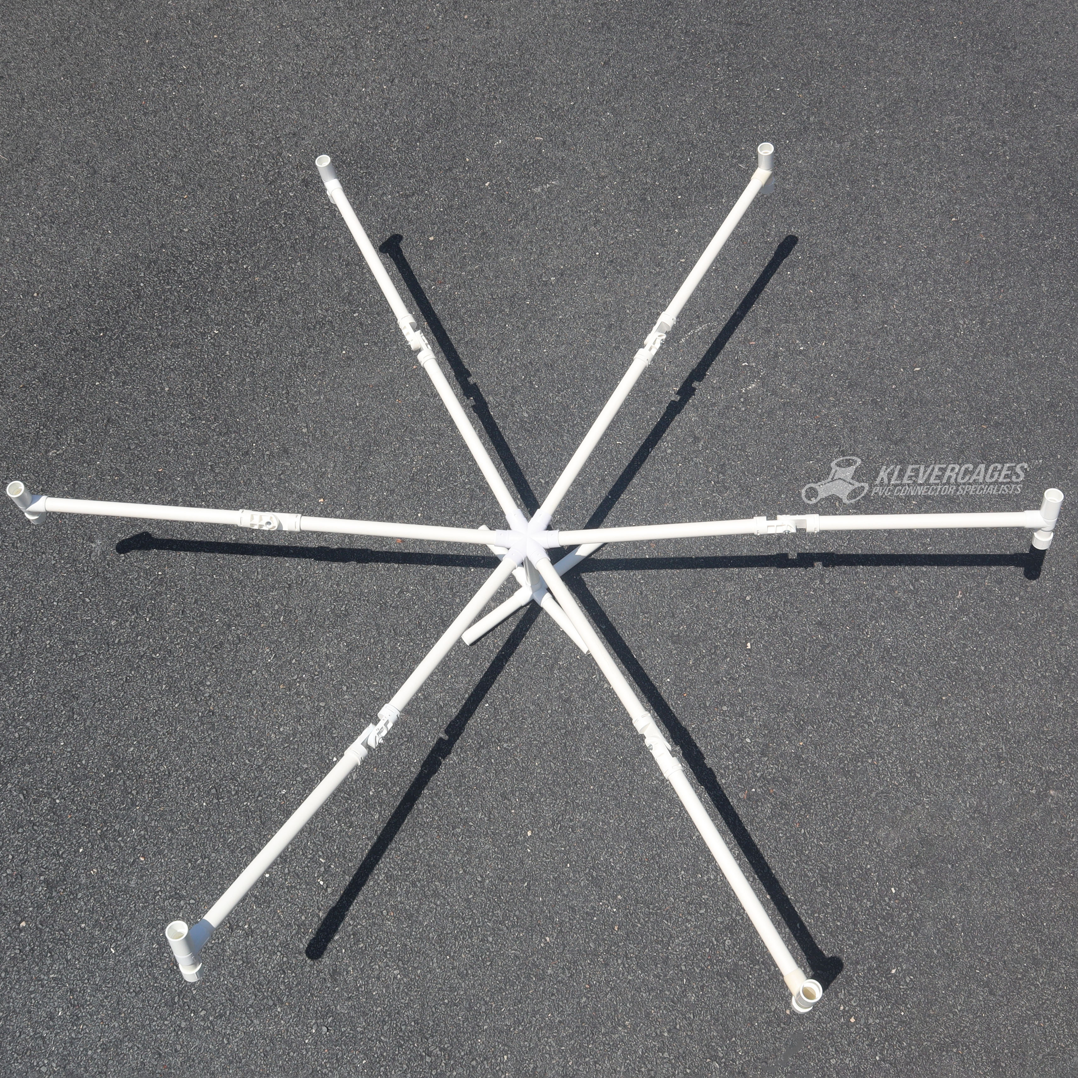dog scent wheel built with a six way connector, a 5 way and 25mm PVC  pipe from Klever Cages