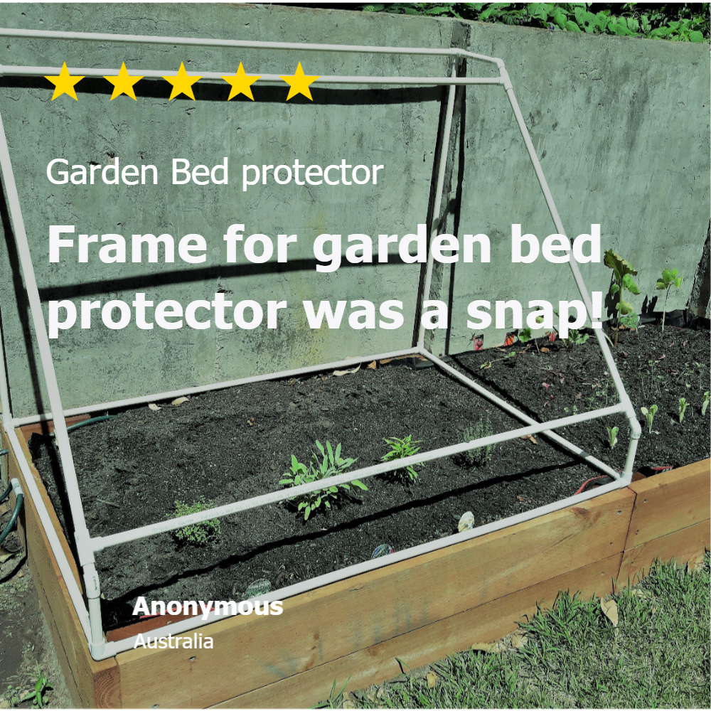Garden Protection review- for a garden protection frame built from PVC connectors and pipe from Klever Cages, 5 star rating