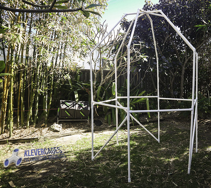 Fruit tree protection frame made from PVC connectors and pipe from Klever Cages