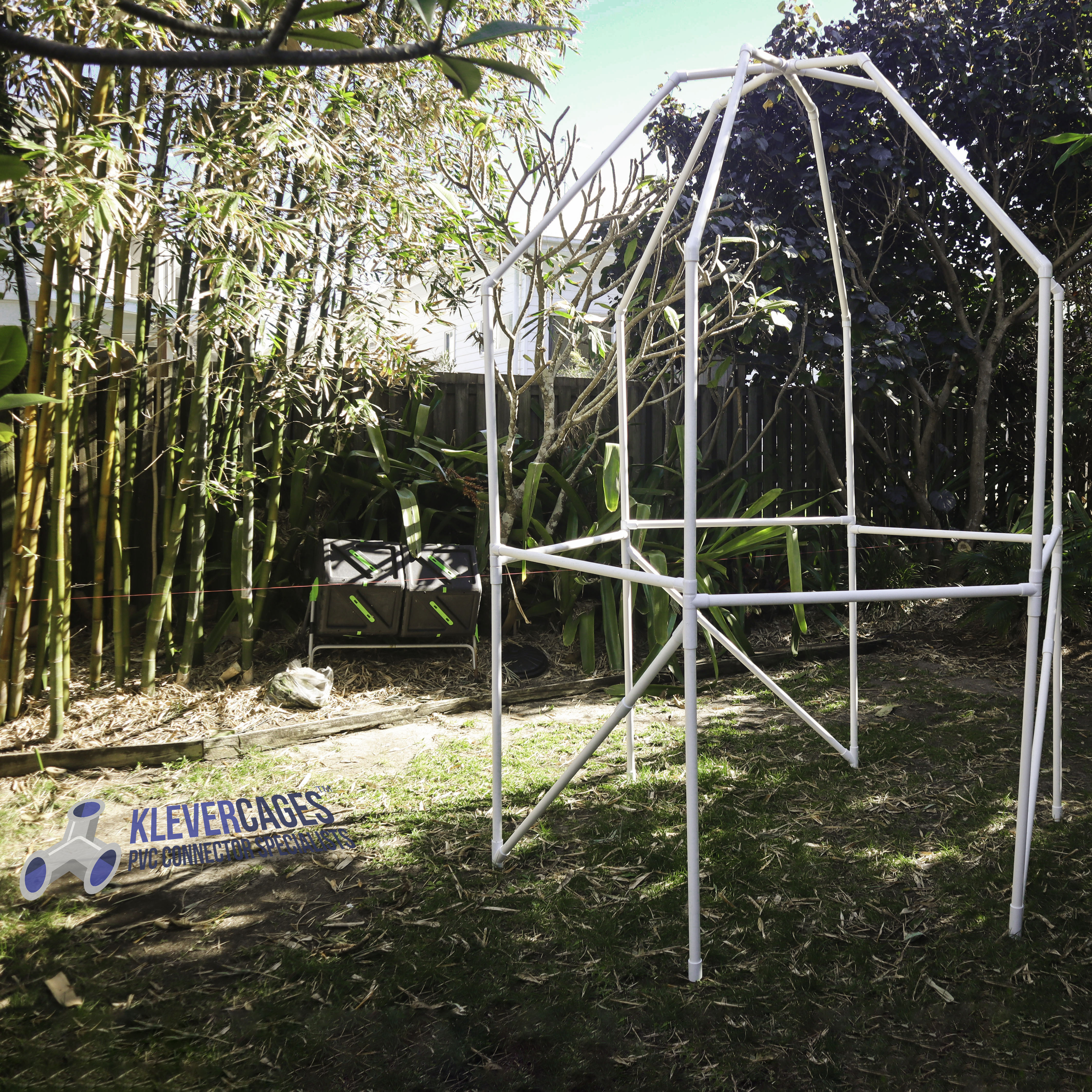 Fruit tree protection frame to support bird exclusion netting built with 6 way connector and PVC pipe from Klever Cages