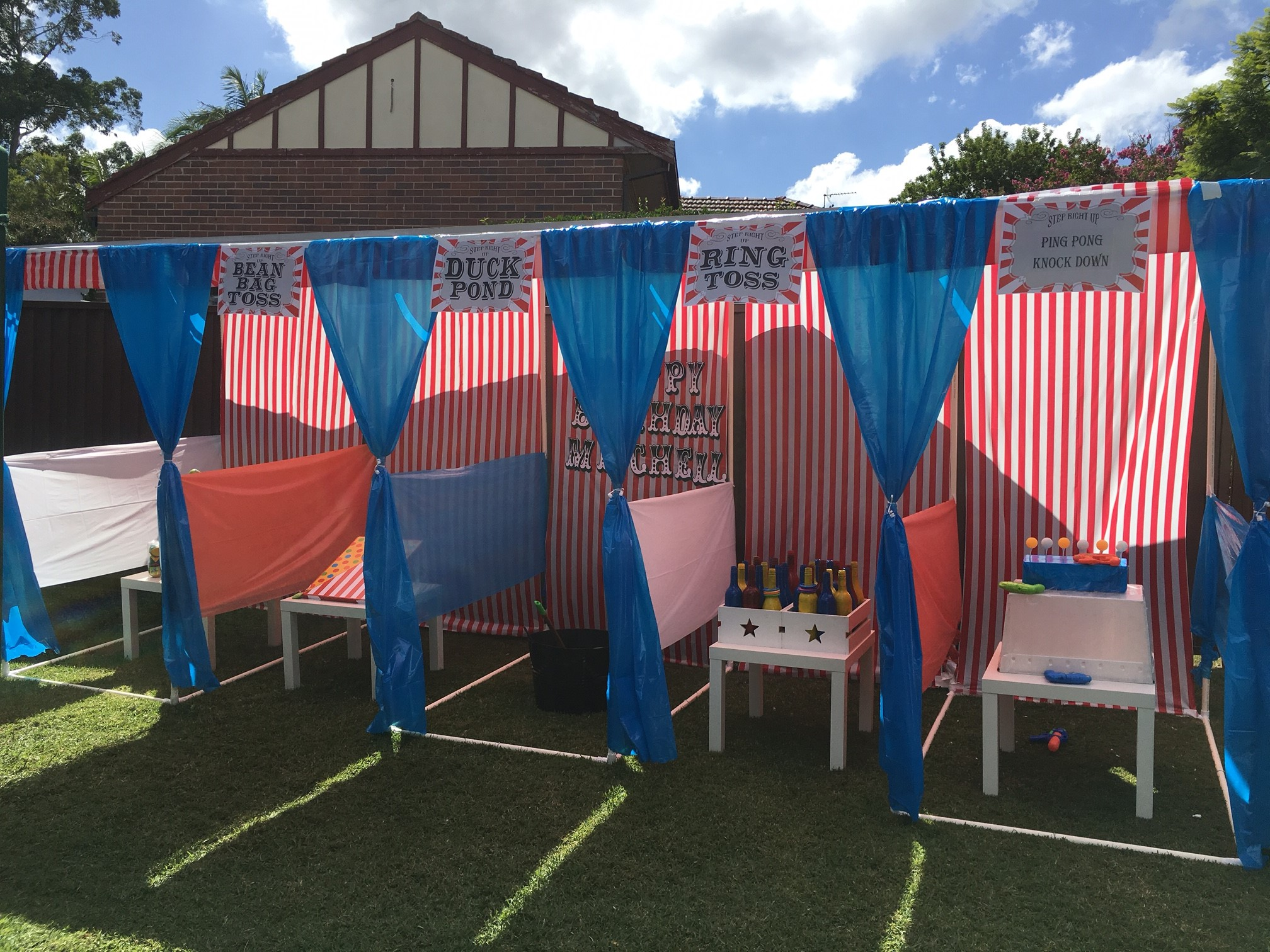 Children's carnival game stalls built with PVC connectors and pipe