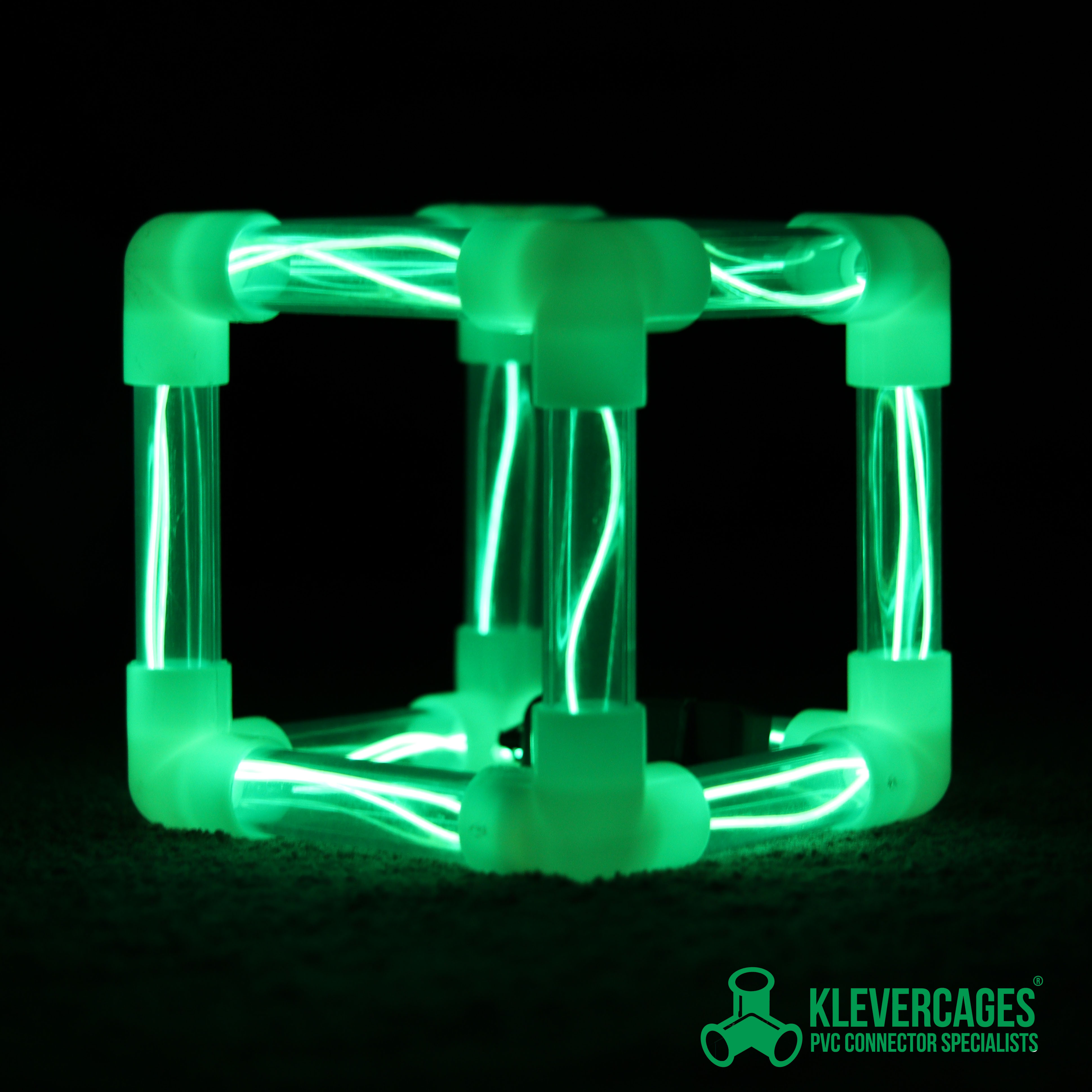 Glow in the dark 3 way elbow connector fittings with led lights in clear PVC pipe from Klever Cages