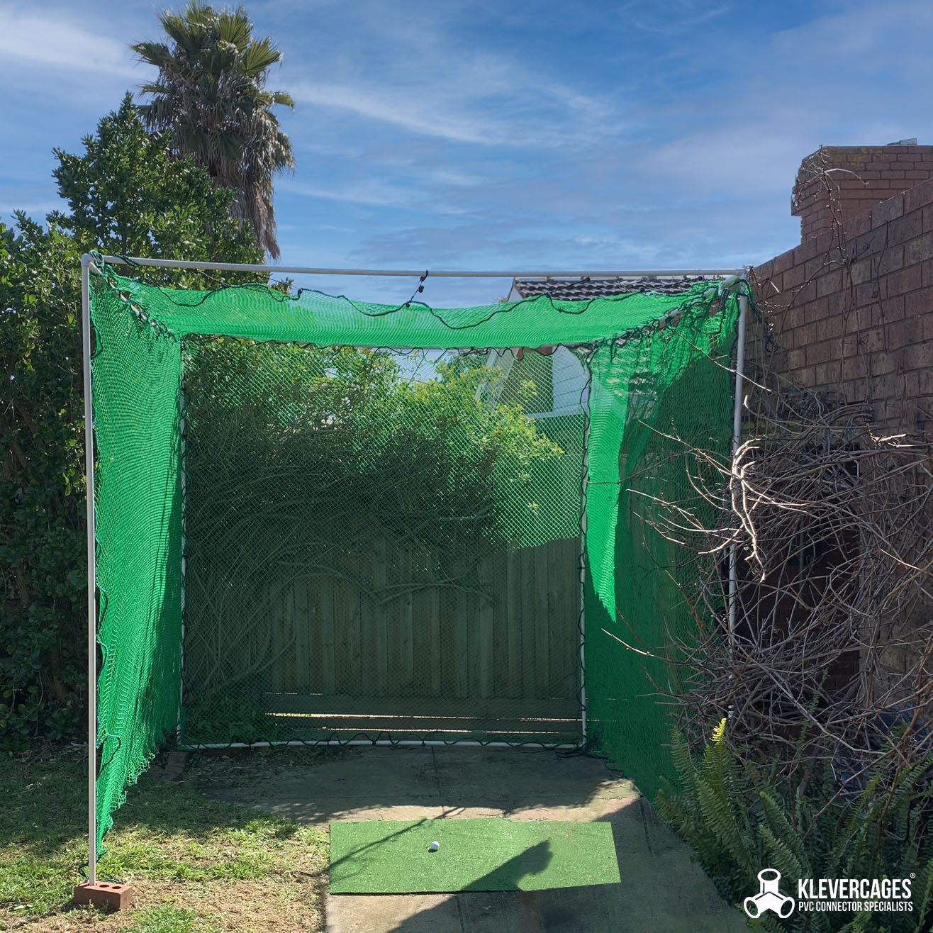 golf practice net built with PVC connectors and pipe from Klever Cages