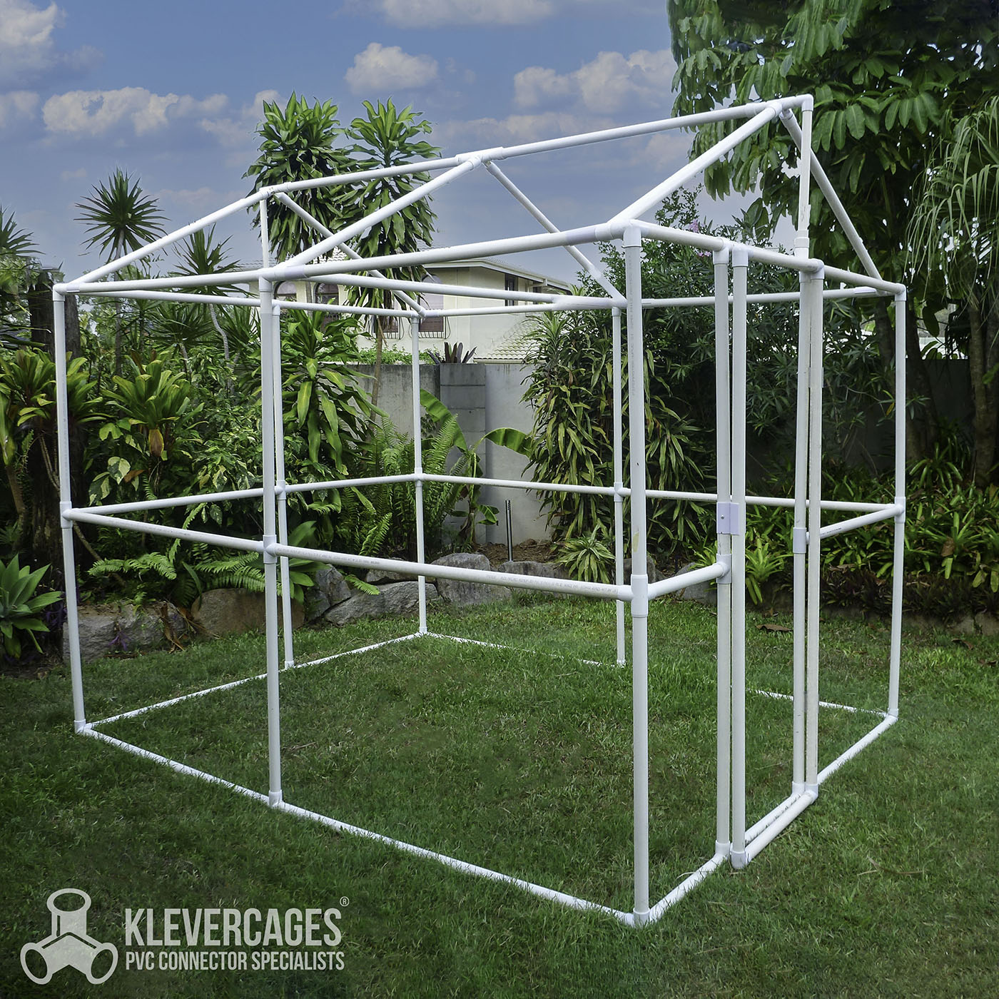 Full size greenhouse frame built with PVC pipe and connectors from Klever Cages