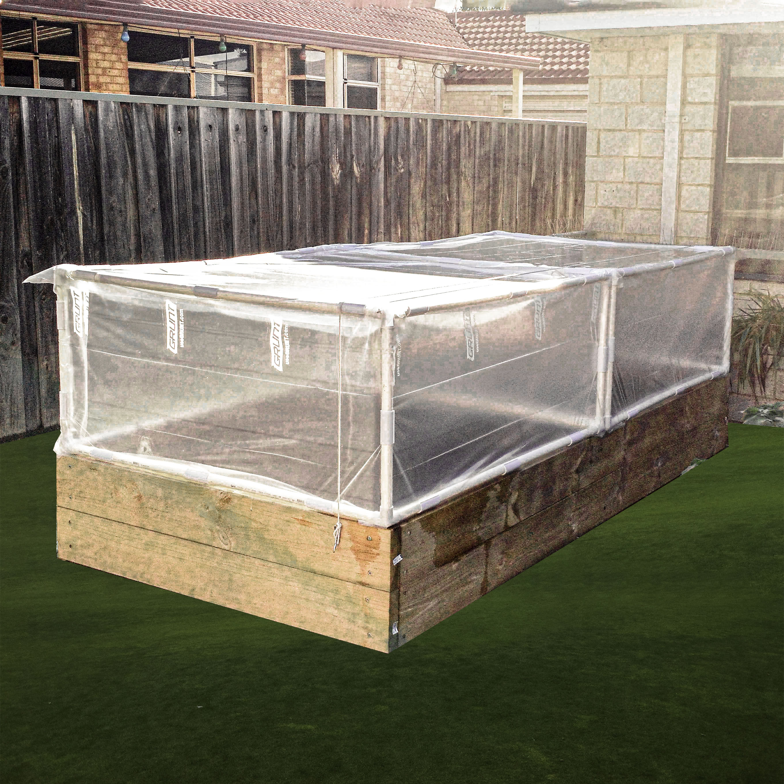 backyard cold frame built with ltee PVC connectors and pipe from Klever Cages. 3 way PVC connectors have also been used