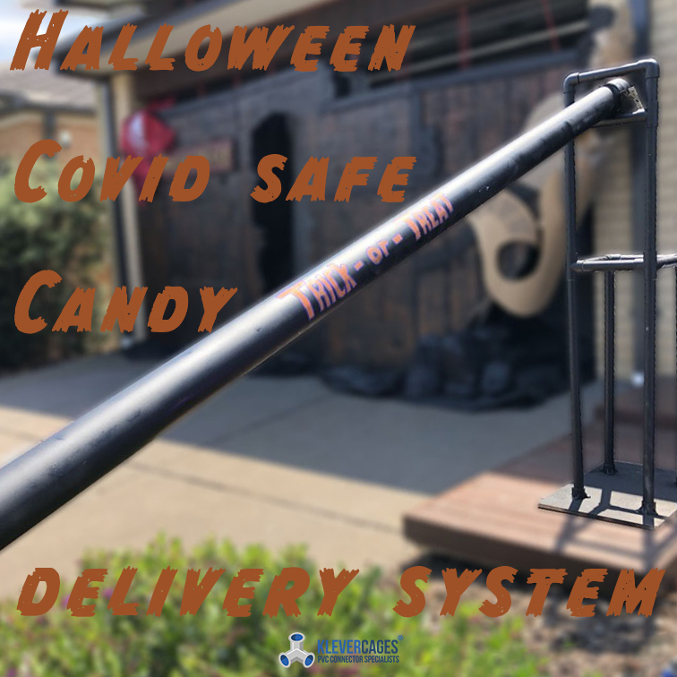 Halloween covid safe candy delivery system built with Connector fittings and PVC pipe form Klever Cages