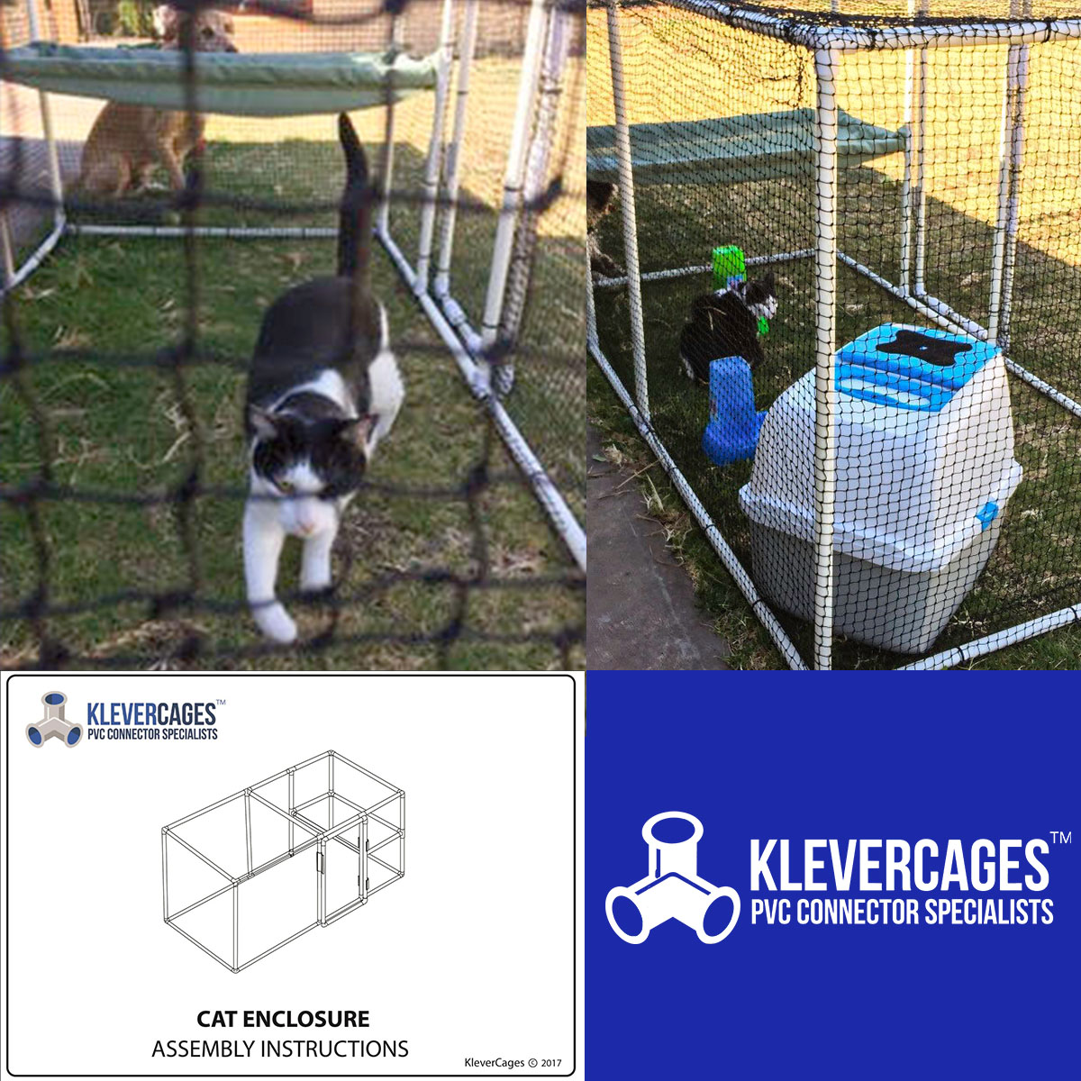 Klever Cages cat enclosure kit built from PVC connectors and pipe outdoors on the grass with Rocket inspecting it and also a dog in the background. Picture of the free PVC plans available to make the assembly of the Klever Cages cat enclosure kit easy to assemble.