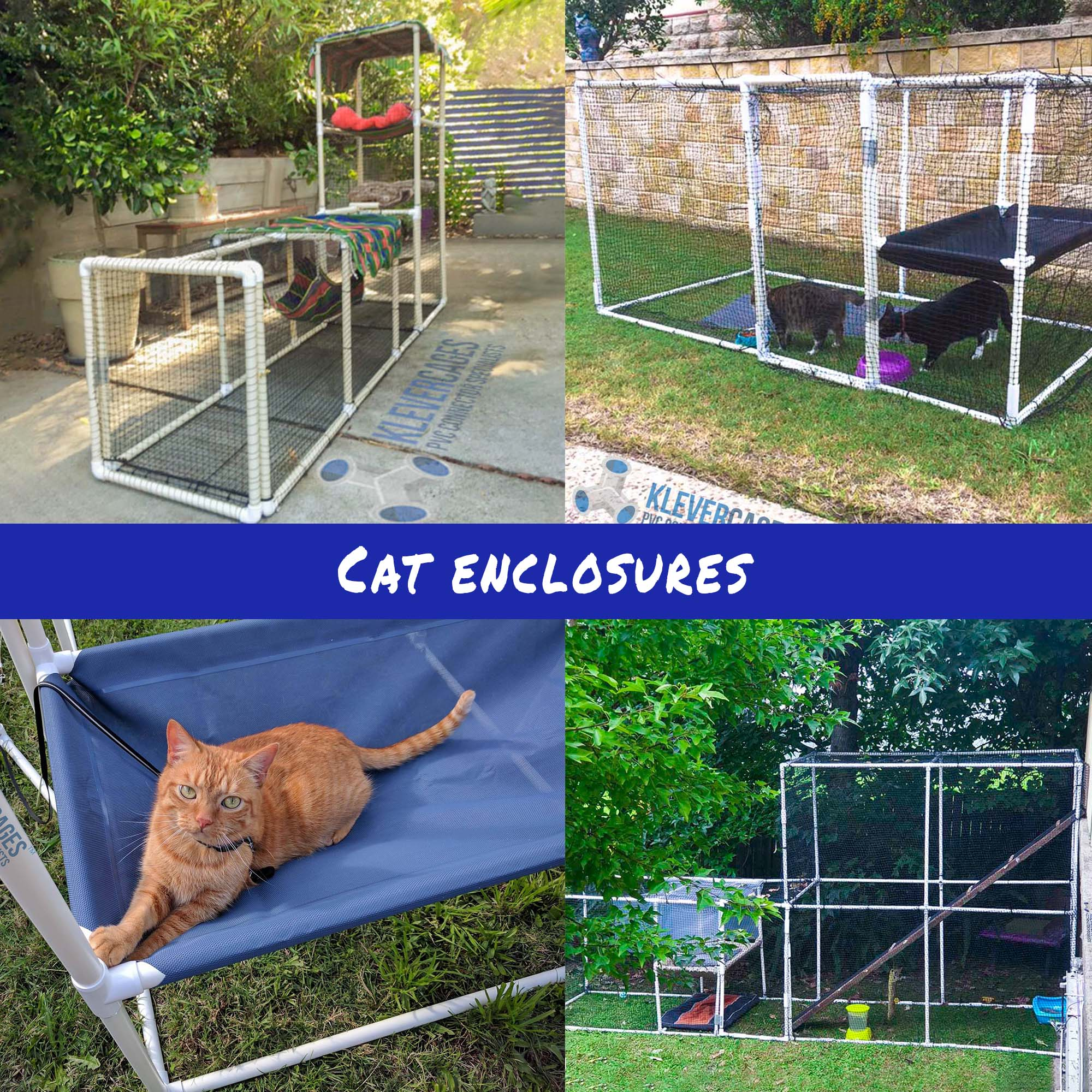 Klever Cages customer photos of cat enclosures designed and built by them from PVC fittings connectors and pipes