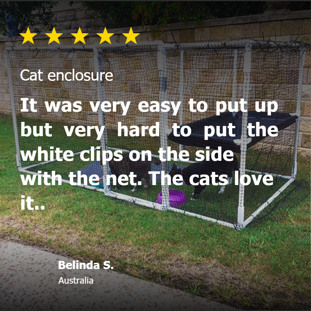 PVC pipe and connectors cat enclosure from Klever Cages Australia review 5 star rating