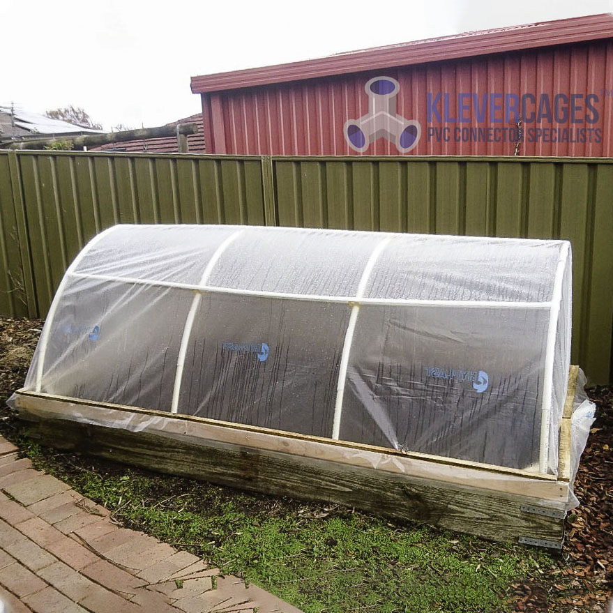 Mini arched raised bed greenhouse made with PVC connectors and pipe from Klever Cages to keep temperate conditions for the plants