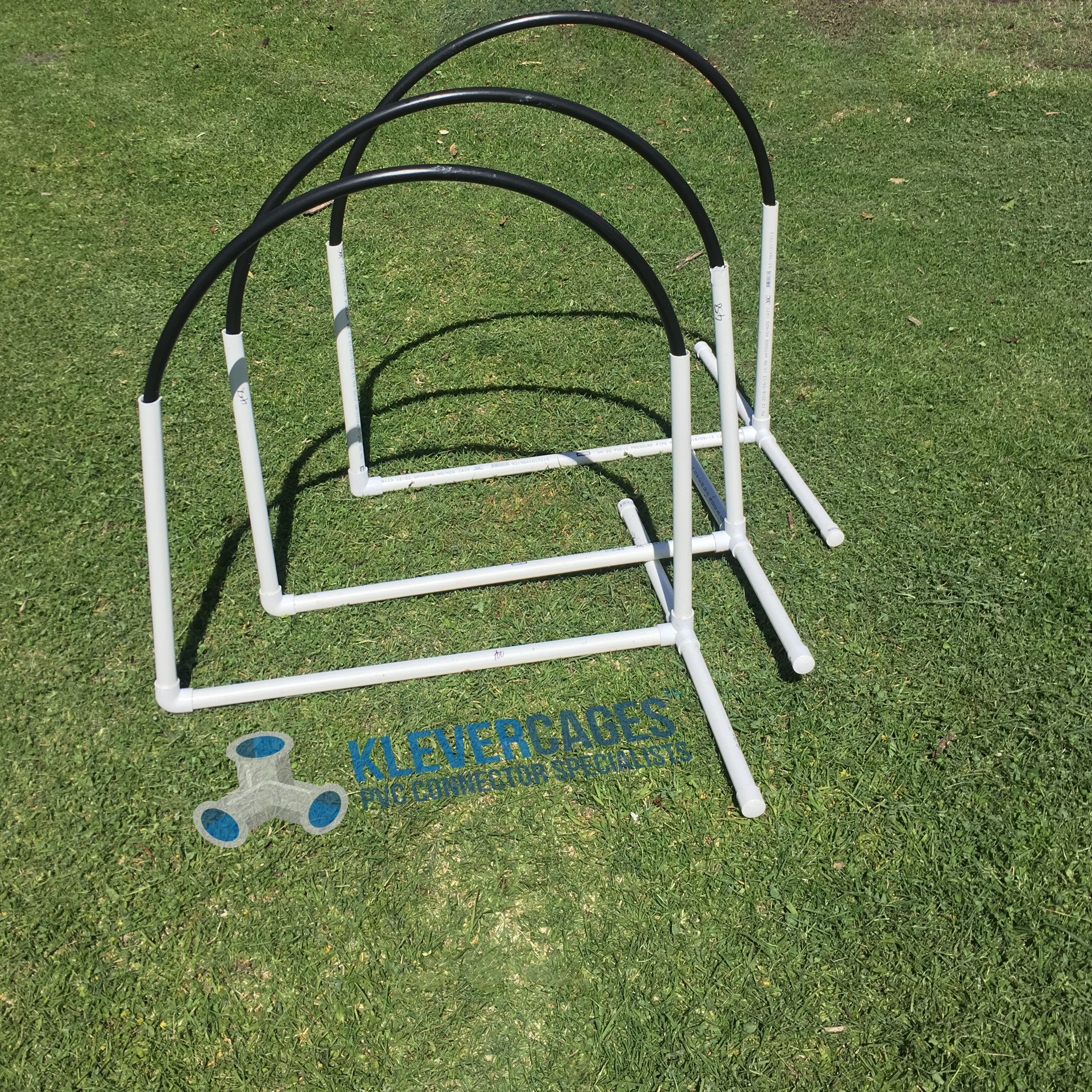Easy to build DIY dog agility NADAC hoops built with l-tee PVC connectors from Klever Cages