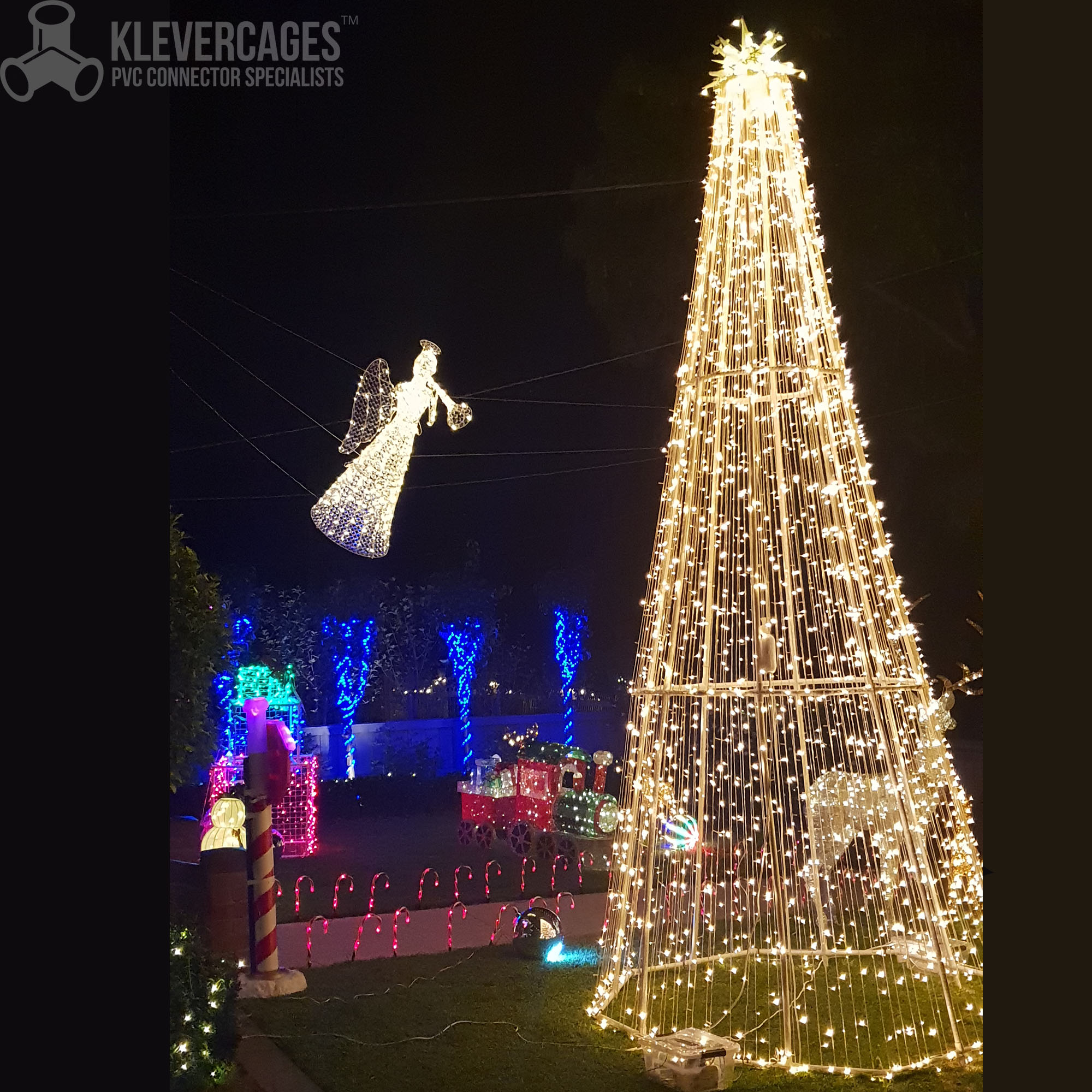 Outdoor Christmas decorations with led lights and a led Christmas tree with the frame built from PVC connectors and pipe from Klever Cages Australia