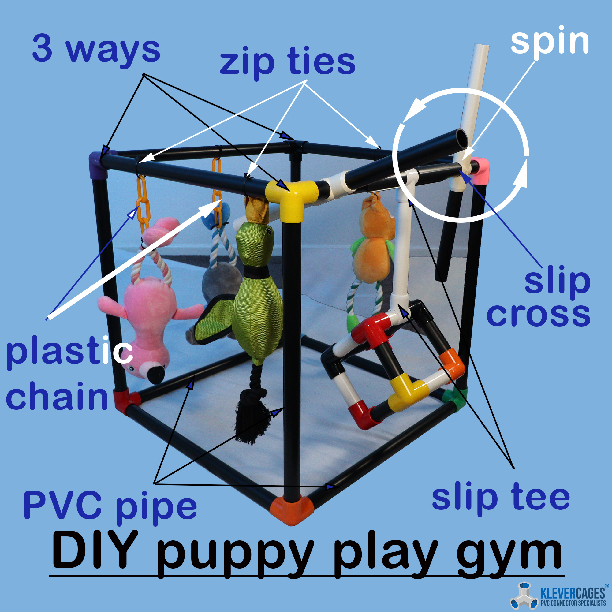 DIY puppy play gym built with connectors black PVC pipe from Klever Cages