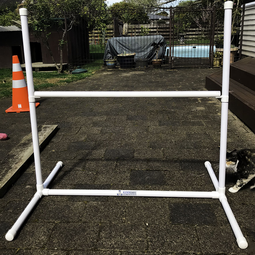 Klever Cages customer built PVC dog agility jump  for a dog agility course
