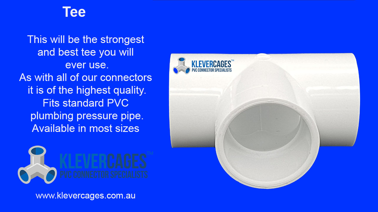 PVC tee connector fitting from Klever Cages fits standard PVC plumbing pressure pipe. Perfect for building greenhouses, cat enclosures, chicken coops and more