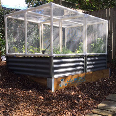 Raised corrugated steel garden bed with vegetables and herbs being protected with fine mesh netting attached to a PVC pipe and Klever Connectors from Klever Cages Australia. These include 25mm 3 way elbows and ltees