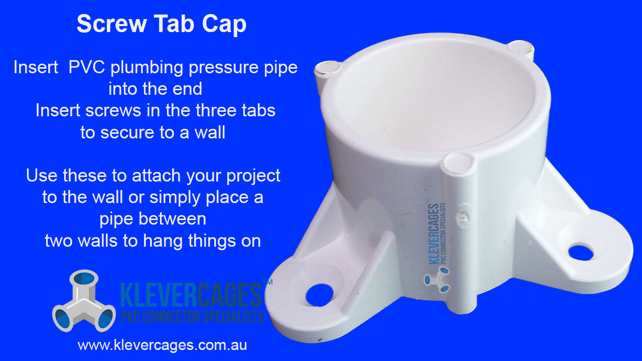 Screw tab cap connector fitting sits PVC pipe to make a mount with for an antenna or weather station or anchor a project