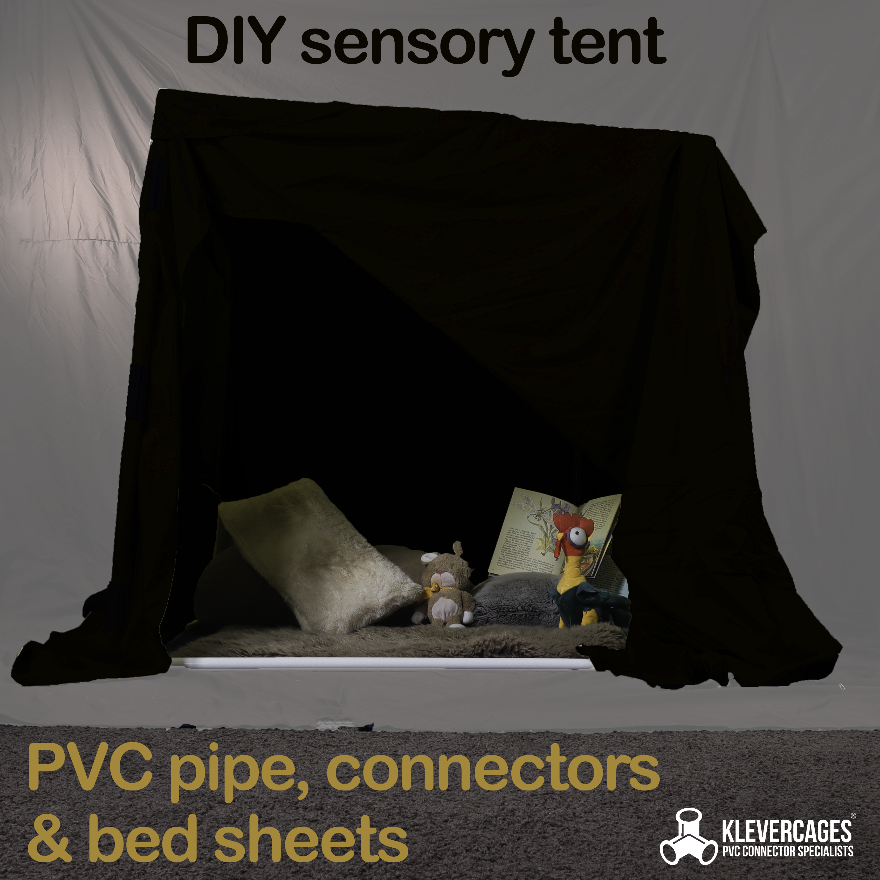 DIY sensory tent or dark den built with PVC pipes and connectors covered with a dark bed sheet to decrease the amount of stimulation for your child and make them feel safe and calm