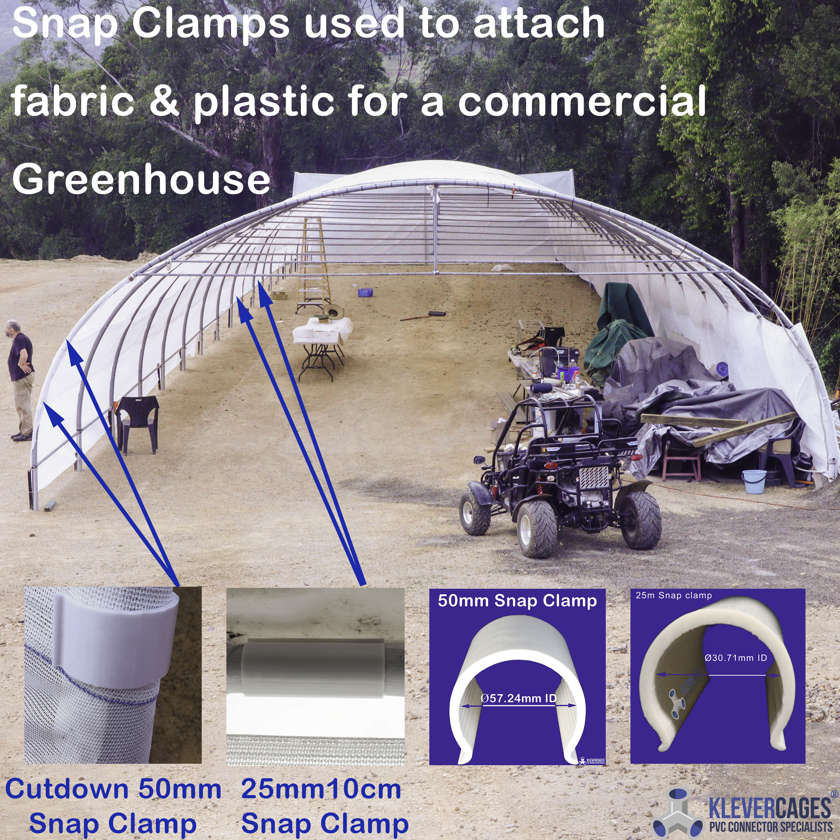 Commercial greenhouse for growing mushrooms with plastic sheeting attached with 25mm and 50mm snap clamps from Klever Cages