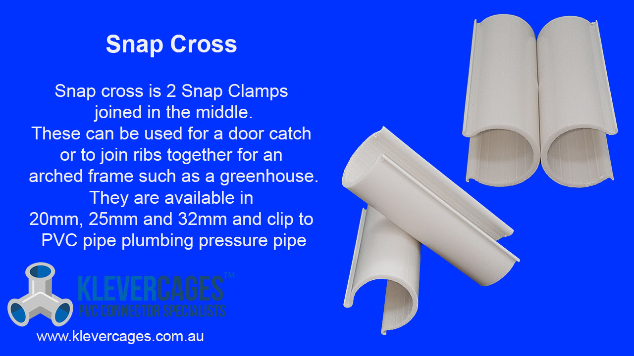 Snap Cross back to back snap Clamps with a rifvet in the middle so you can get the angles you need. Snaps onto PVC pipe