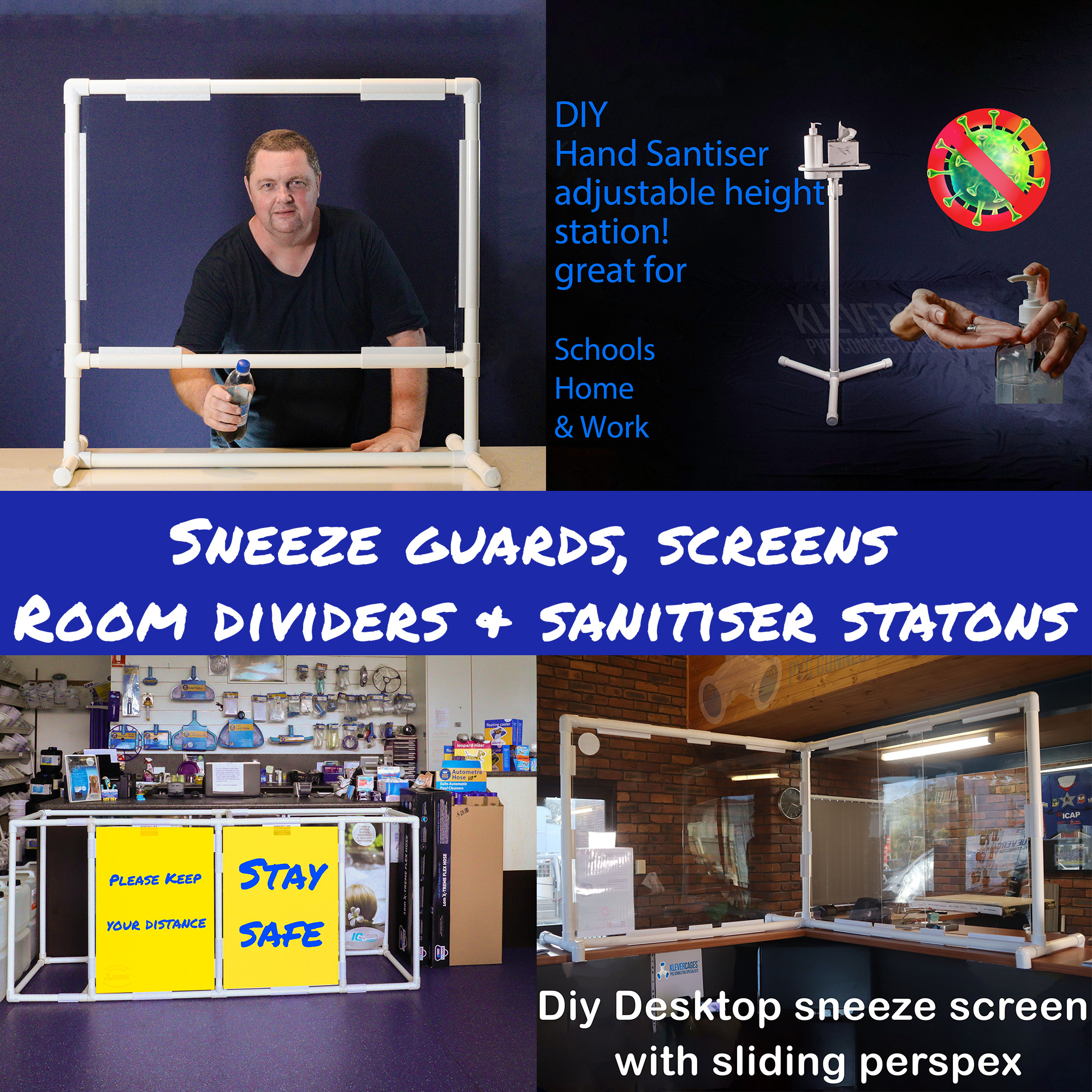Customer and staff safety sneeze screens, sneeze guards, asbestos containment enclosures and shop counter spacers all built with PVC pipe in different sizes  and Klever Connectors from Klever Cages