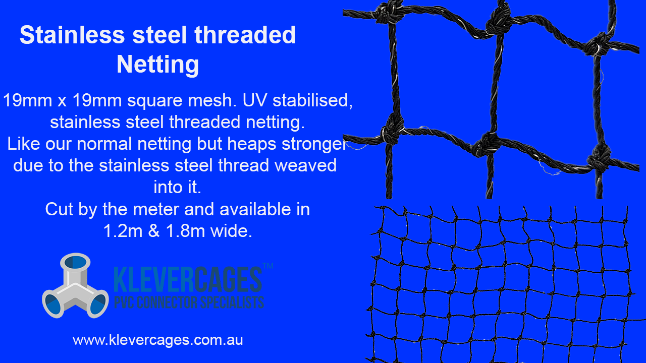 Stainless steel threaded netting. This netting has 10mm square holes is UV trated and has heat treated joints great for chicken coops and rabbit hutches
