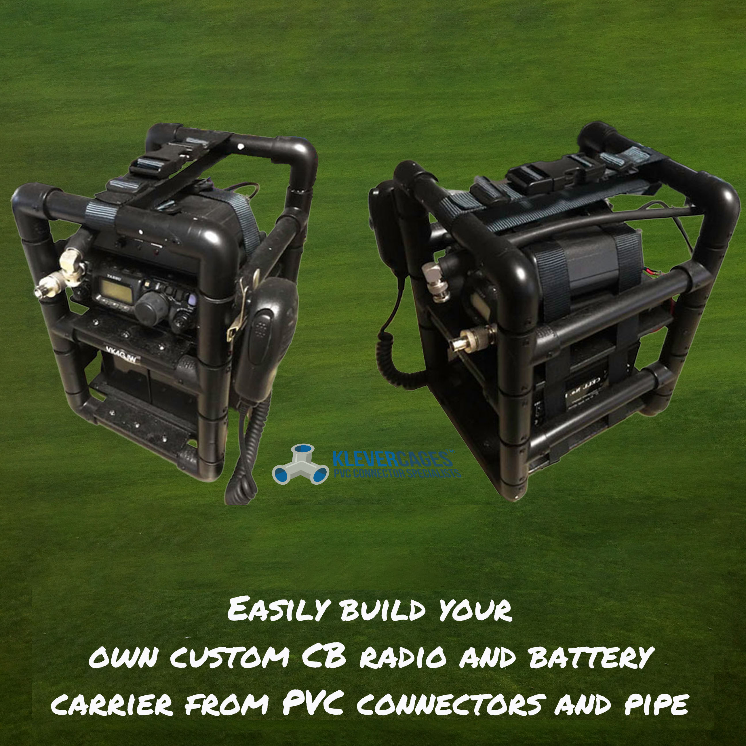 UHF CB radio carrier built with PVC pipe and connector fittings from Klever Cages