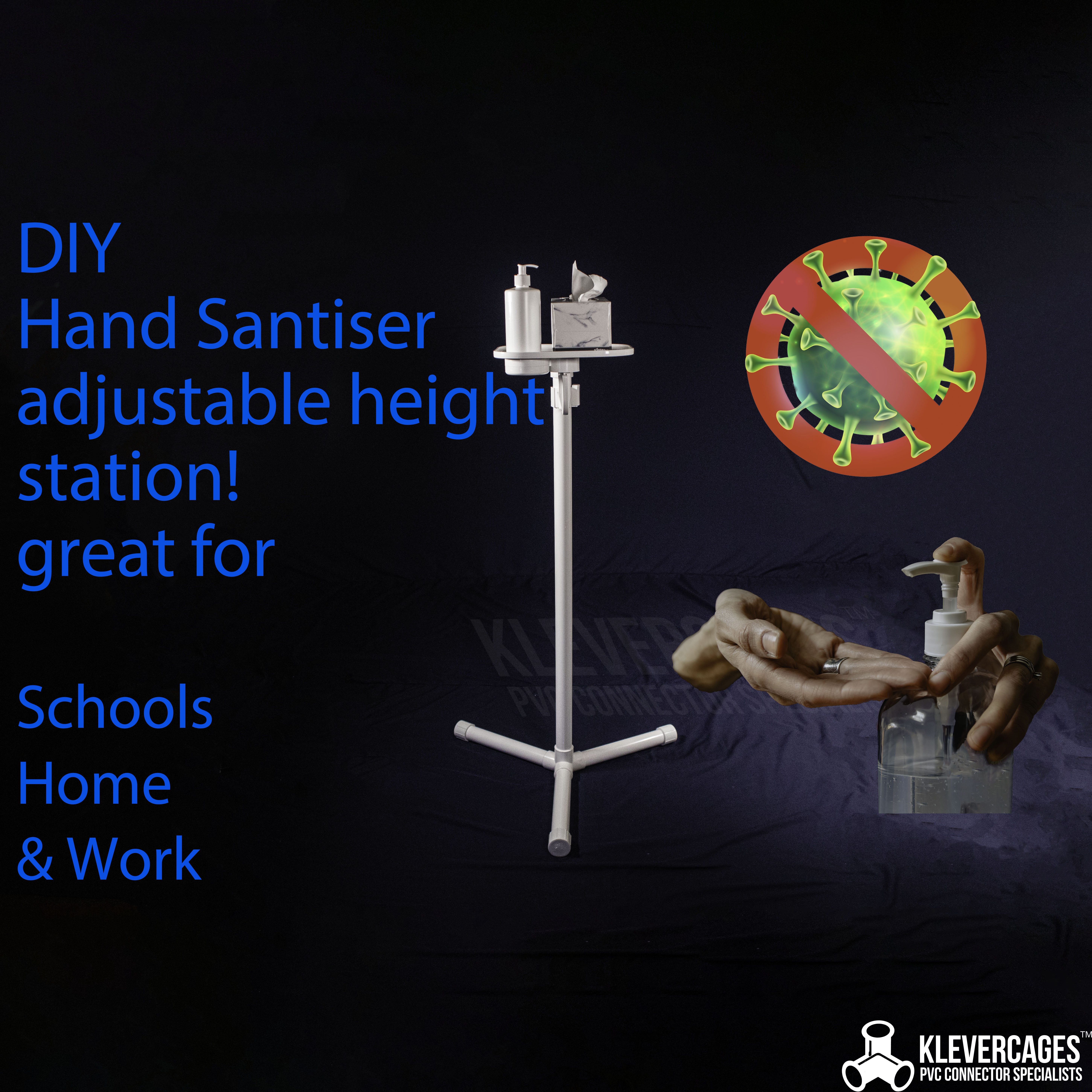 DIY hand sanitiser sanitizer station built with PVC pipe and connectors. Great for washrooms schools home and work