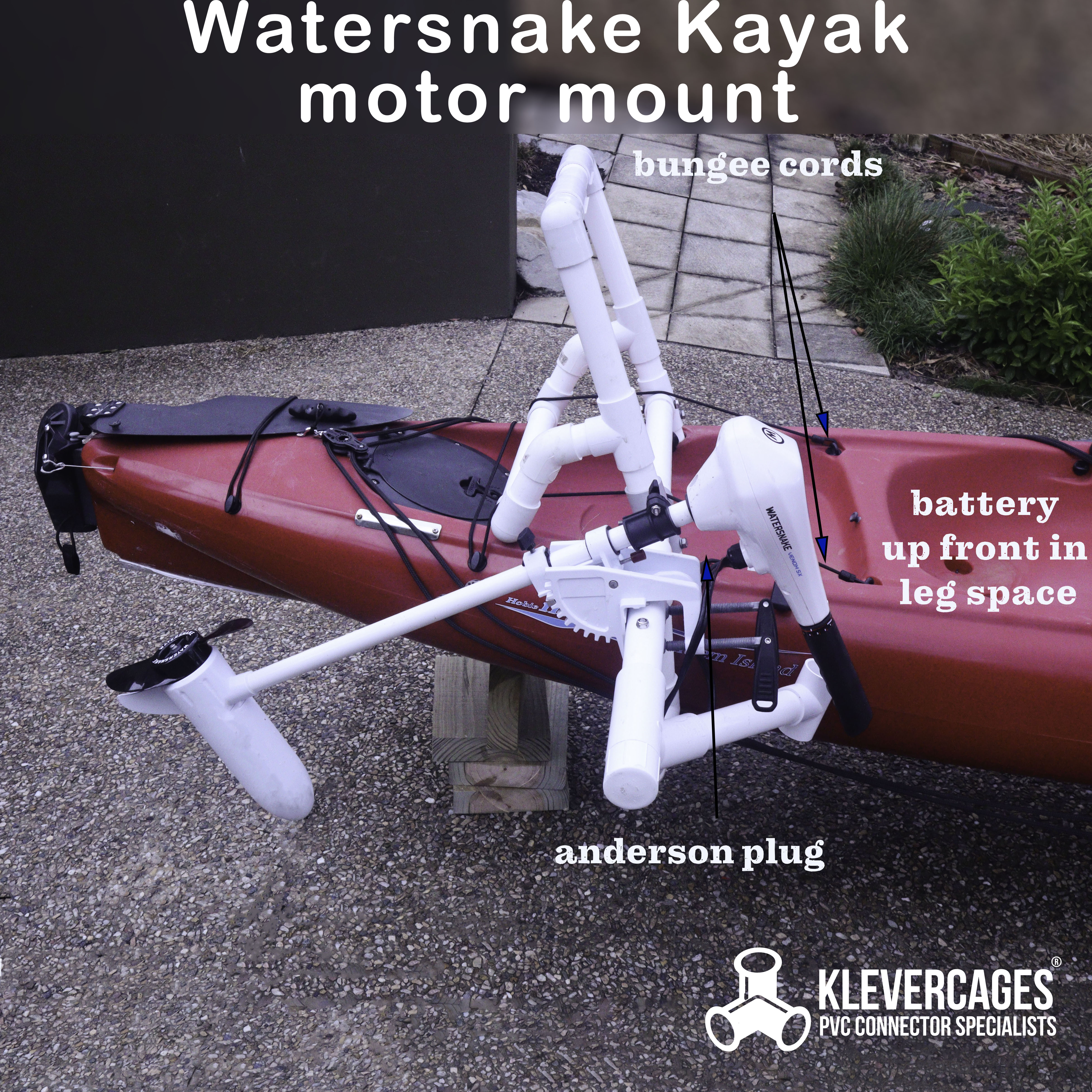 Watersnake kayak motor mount built with PVC pipe and connectors