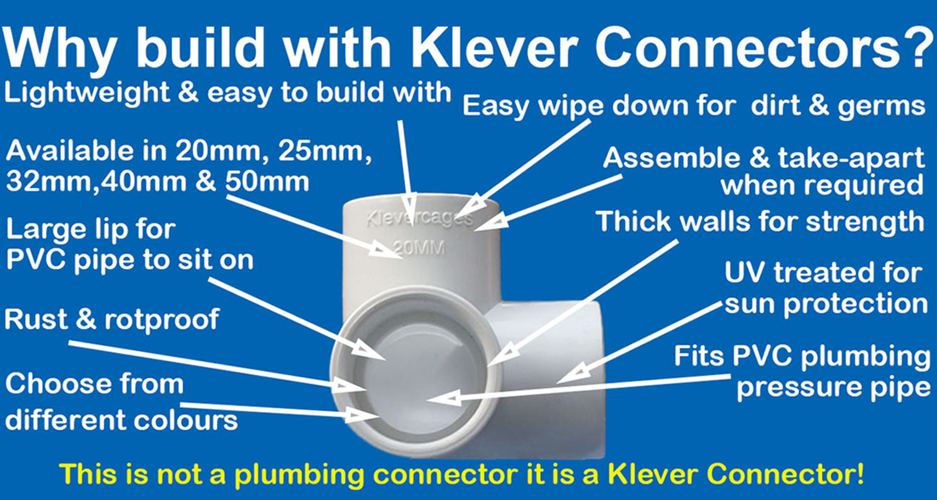 3 way 20mm connector fitting that fits PVC pipe from Klever Cages fpr building PVC projects