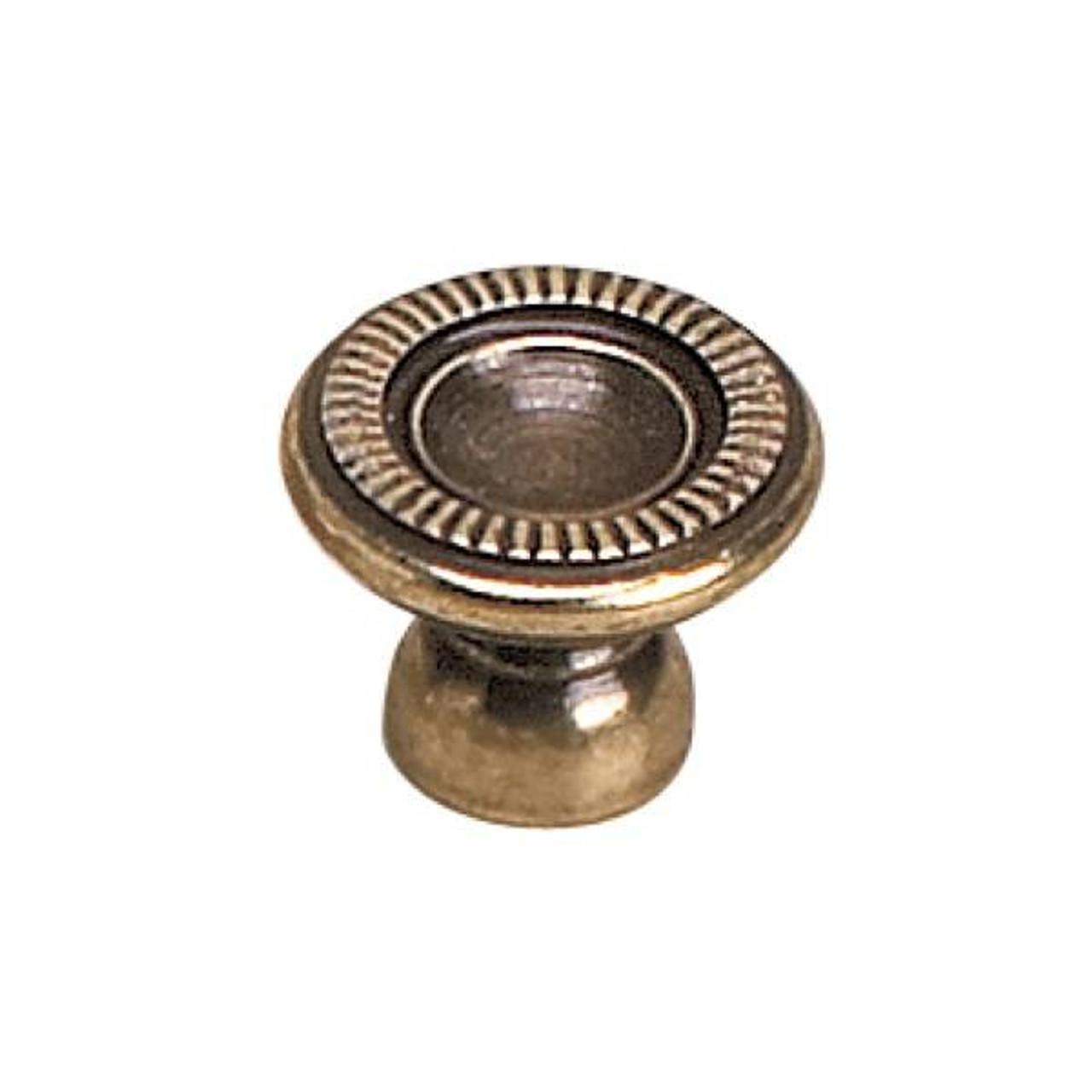 20mm Dia Classic Empire Style Ridged Edge Round Knob Burnished Brass Rlu 2440520bb