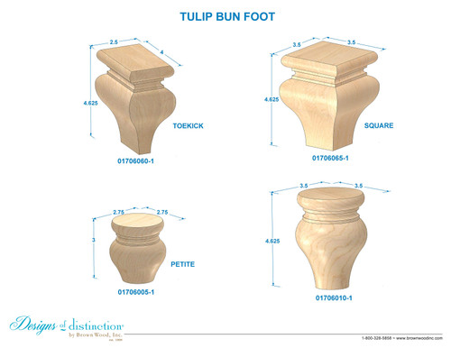 "4-5/8"" Tulip Bun Foot"