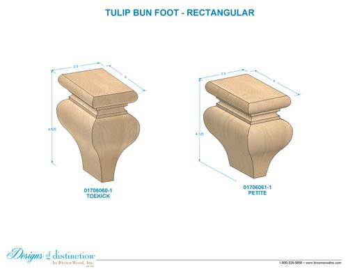 """4-1/8"""" Toe Kick Tulip Bun Foot"""