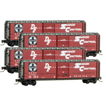 Micro Trains Z Scale ATSF Santa Fe 50' Boxcar 4 Pack RP#107