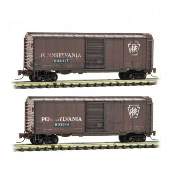 Micro Trains Z Scale Pennsylvania Weathered Boxcar 2 Pack