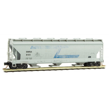Micro Trains N Scale Solvay Minerals Hopper Car Weathered With Graffiti