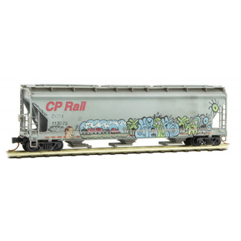 Micro Trains N Scale Soo Line CP Hopper Weathered With Graffiti