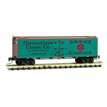 Micro Trains Z Scale Oppenheimer Casing Co 40 Foot Boxcar Road #8025