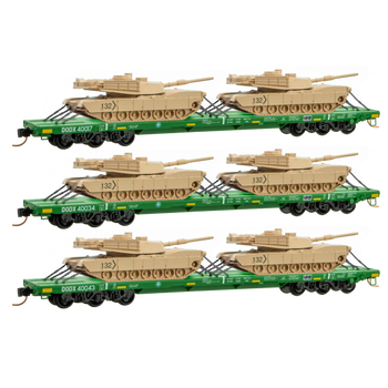 Micro Trains N Scale DODX Flat Car With Tank Load Cascade Green 3 Pack